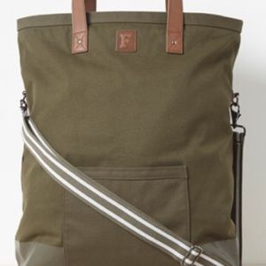 French connection green moss canvas tote bag